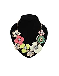 Floral Statement Necklace Chunky Bold Flower Colourful Fashion Costume Jewelry