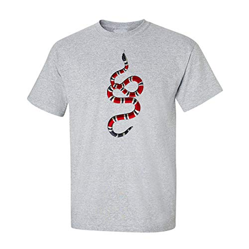 Gucci Coral Snake Animals Tees Graphic Funny Generic Novelty Mens Unisex T-Shirt (Small, Heather ()