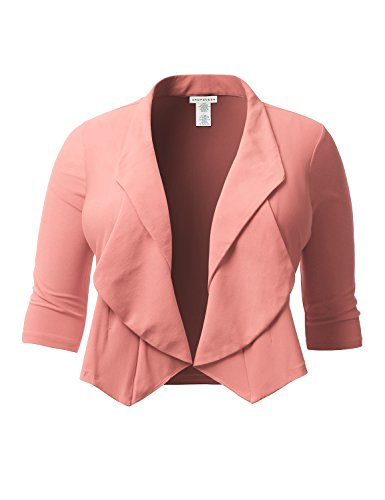 SHOPQUEEN Plus Size Casual Thin Open Front 3/4 Sleeve Stretchy Blazer Jacket (Peaches Cardigan Style Jacket)