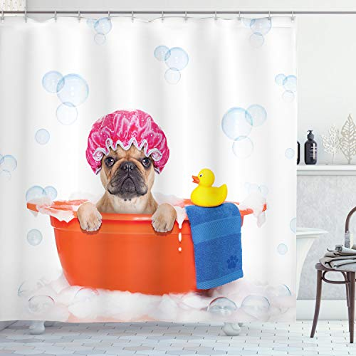 Ambesonne Dog Lover Shower Curtain, Dog Having a Bath in a Tub with Rubber Duck Cleaning Theme on Bubbles Background, Cloth Fabric Bathroom Decor Set with Hooks, 70 Long, Orange Pink