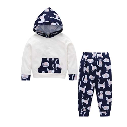 1-5 T Kids Baby Hoodie Sweatshirt Clothes Set Cat Print Hooded Top Blouse Tracksuit +Pants Pocket Autumn Winter Outfits (White, 4T) by Aritone - Baby Clothes