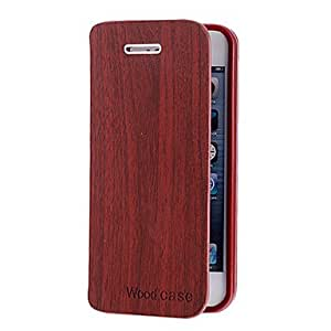 Mini - Wood Grain Solid Color PU Leather Full Body Case with Card Slot for iPhone 5/5S , Color: Khaki