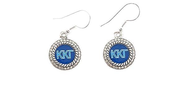 Kappa Kappa Gamma Sorority Crystal Blue Circle Earrings Jewelry Little Rush