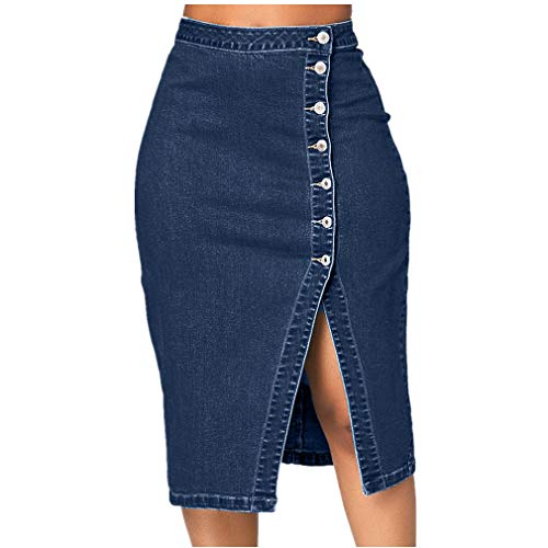 - VEZAD Women Fashion Denim Pencil Skirt High Waisted Blow Knee Blue Jeans Skirts