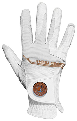 Copper Tech Gloves Women's Golf Glove, White/White, One (Copper Grips)
