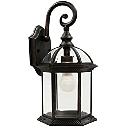 "Trans Globe Lighting 4181 RT Outdoor Wentworth 15.75"" Wall Lantern, Rust"