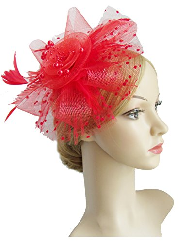 Kentucky Derby Costume (Flower Cocktail Tea Party Headwear Feather Fascinators Top Hat for Girls and Women(RED))