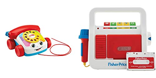 Fisher Price Music Toy Set, Chatter Telephone with Ringing Sounds Pull String Toy and Play Tape Recorder for Kids with Sing Along Microphone