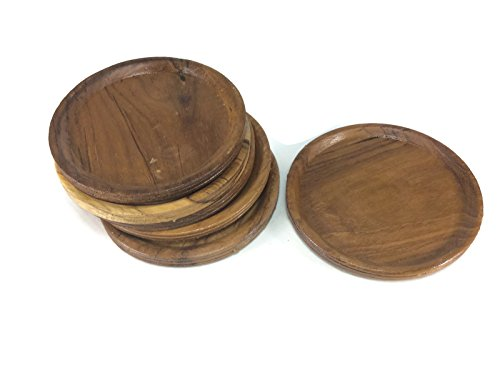 Coasters Wood Thick Circle Saucers Drink Handmade Teak Wood Holders Dispensers Cup Holder 6 Pieces
