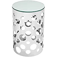 Modway Etch Stainless Steel Side Table, Silver