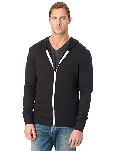 Alternative Men's Eco Zip Hoodie Sweatshirt Shirt, Eco True Black, X-Large