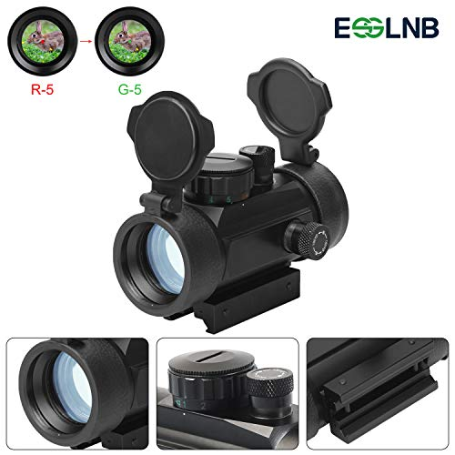 ESSLNB Airsoft Red Dot Scope Reflex Sight 30mm Optics Prism with 5 Brightness Settings 20mm/11mm Weaver/Picatinny Rail Mount for Hunting Spotting Aiming Positioning (Red/Green Sight Scope)