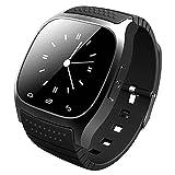 General Moda Bluetooth Watch Car Manos Libres Smart Watch M26 Música Power Saving ladrón teléfono pulsera Negro