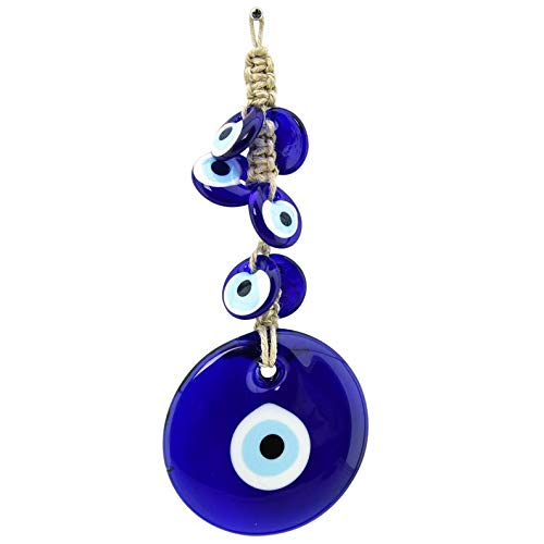 (Erbulus Turkish Macrame Evil Eye Wall Hanging Ornament - Glass Bead Home Protection Charm - Wall Decor Amulet)