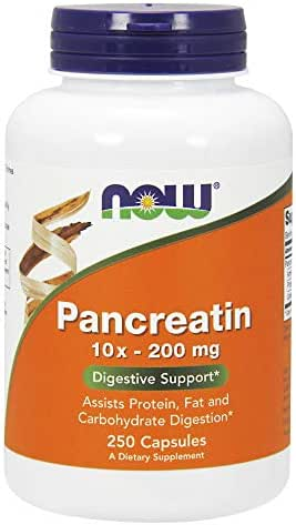 NOW Supplements, Pancreatin 10X 200 mg with naturally occurring Protease (Protein Digesting), Amylase (Carbohydrate Digesting), and Lipase (Fat Digesting) Enzymes, 250 Capsules