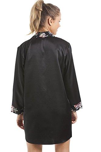 motivo Nero floreale da raso con Camicia Nero notte donna deluxe In Camille OSZxwq8vC