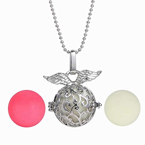 FM42 Openable Angel Wings Ball Locket with 3 Colors Glow in the Dark Balls Pendant Necklace (Glow In The Dark Wings Costume)