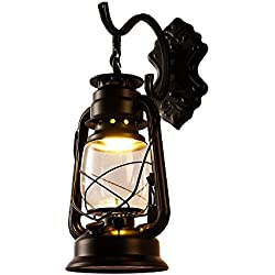 INJUICY Kerosene Wall lantern Light, Vintage Metal & Glass Wall Sconce Lights for Bedroom Living, Dining Room, Cafe Bar, Hallway Decor