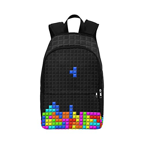 ree-Dimensional Block Russian Tetris Casual Daypack Travel Bag College School Backpack for Mens and Women ()