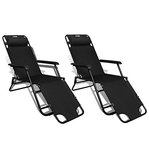 vidaXL 2x Folding Sun Loungers Reclining 3 Positions Black Sunbed Chaise Lounge