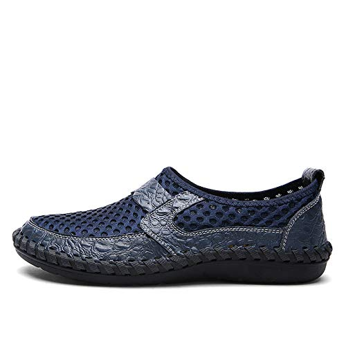 TNGWA& 2018 Summer Breathable Mesh Shoes Mens Casual Shoes Genuine Leather Slip on Summer Shoes Man Soft Comfortable New XX-071 Blue 6.5