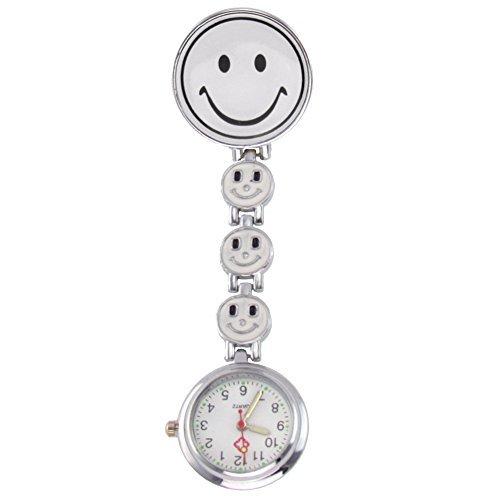Ansteckuhren Smiley Klippuhren bunte Auswahl an Sister Uhren Pulsuhren Schwesternuhren für Pflegekräfte (4-Smileys weiss)