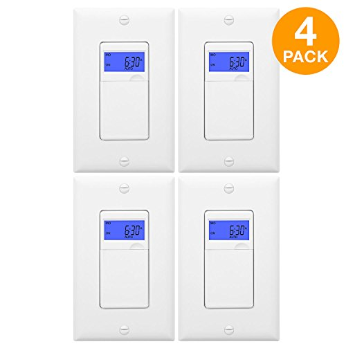 ENERLITES 7 Days Digital In-Wall Programmable Timer Switch for Lights, fans, and Motors, Single Pole, Neutral Wire Required, 7-Day 18 ON/OFF Timer Settings,w/Blue Backlight, HET01, White, 4-Pack ()