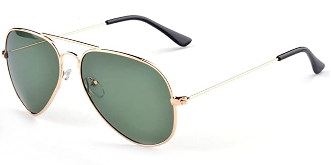 7540a73e5cf4 Image Unavailable. Image not available for. Color  Aoron Unisex Classic  Polarized Aviator Sunglasses with Dark-green Lens Gold Metal Frame