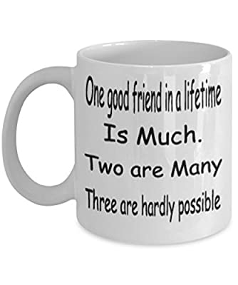 One Good Friend In A Lifetime Is Much Mug White Unique Birthday, Special Or Funny Occasion Gift. Best 11 Oz Ceramic Novelty Cup for Coffee, Tea Or Toddy