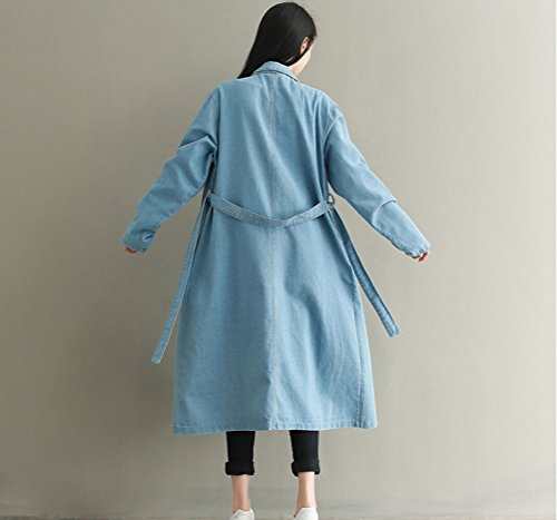 Large WTW0116 En Nanxson Trench Manteau bleu TM Jean Femmes Pour Casual Ceinture clair Long Avec 77rF1w8q