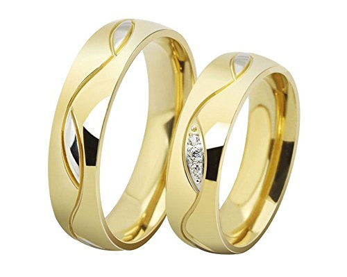 Pair Wedding Rings (The New 18k Diamond Engagement Rings Gold Alloy Wedding Rings 025 (women, us9))