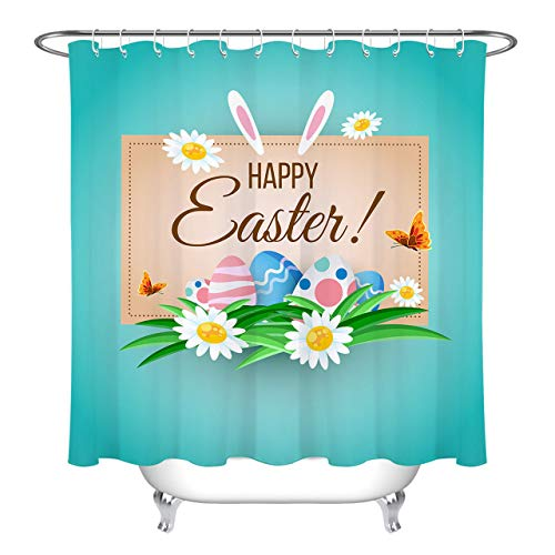 LB Fresh Design Happy Easter Shower Curtain Spring Theme Colorful Eggs with Floral on Blue Background Holiday Shower Curtain 72x72 Inch Waterproof Anti Mildew Fabric with 12 Hooks