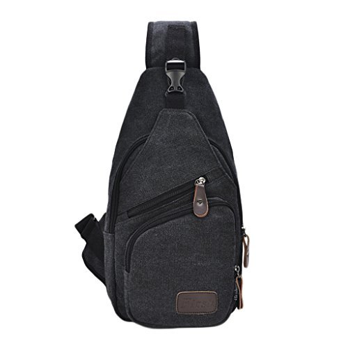 Daosen Sports Unbalance Backpack Sling Bag for Men Canvas Chest Pack/Hiking Bag Black