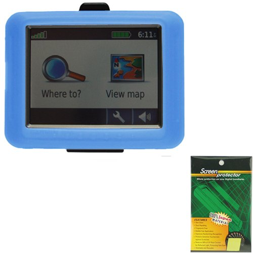 2in1 Combo! Garmin GPS Silicone Skin Case Blue Plus Screen Protector! For Use with 3.5 Inch Screens: Garmin Nuvi 200 / 250 / 260 / 270 / 205 / 255 / 265T / 275T (Does Not Include Garmin Gps!) by Gizmo Dorks