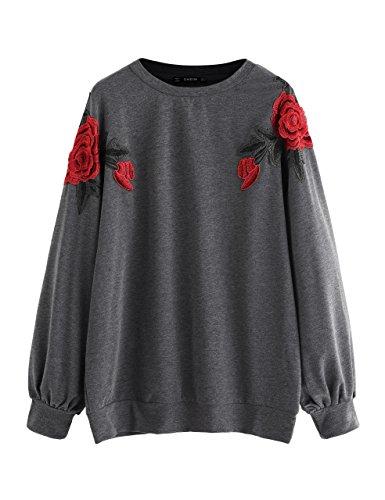 Embroidered Running Sweatshirt - SweatyRocks Women's Loose Tunic Floral Embroidered Pullover Sweatshirt Dress Grey L