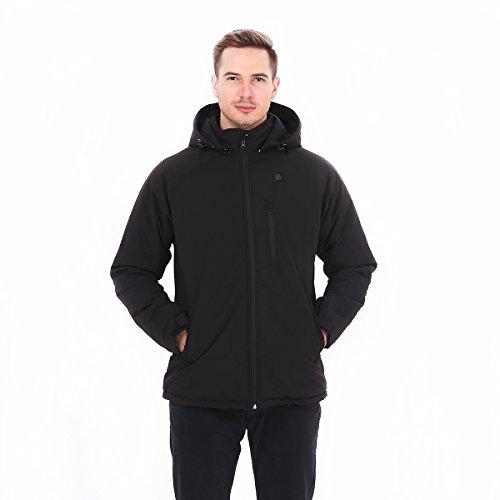Lacle Men's Cordless Detachable Hood Heated Jacket with Battery Pack Heating Coat for Outdoor