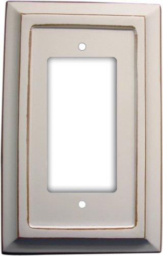 (Amerelle Savannah Single Rocker Wood Wallplate in Distressed White)