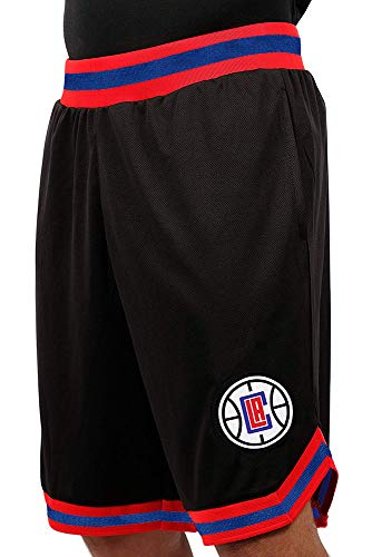 NBA Los Angeles Clippers Men's Mesh Basketball Shorts Woven Active Basic, Large, Black -