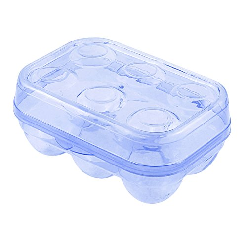YOHA Clear Egg Storage Box Delicate 6 Girds Egg Dispenser Holder Case Refrigerator Crisper Camping Picnic Travel Portable Egg Carriage Blue-6