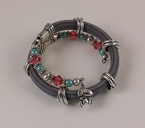 Snoopy Charm on Grey Faux Corduroy Beaded Spiral Coil Cuff Bracelet with Jade, Red Beads Accented With Pewter Designer Beads! - Red Jade Beaded Bracelet