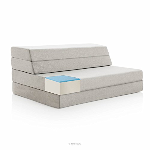 LUCID 4 Inch Folding Mattress and Sofa with Removable Indoor