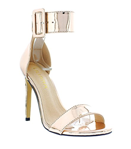 [Liliana Wide Buckle Accent Open Toe Single Sole High Stiletto Heels Golden-62a(Rose Gold 10)] (Clunky Heels)