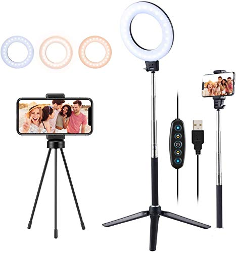 VicTsing Selfie Ring Light with 2 Tripod Stand & Phone Holder, Mini Led Camera Ringlight - 5 Modes and Selfie Stick for YouTube Live Stream Makeup