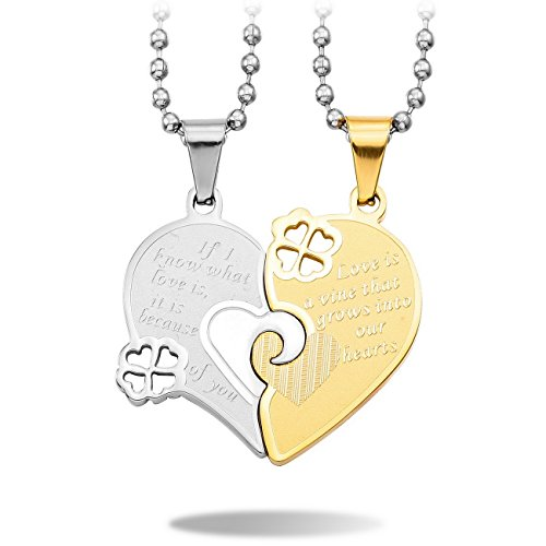 MeMeDIY 2PCS Silver Gold Two Tone Stainless Steel Pendant Necklace Heart Four Leaf Clover Couple,come with 2 Chains - Customized (Four Hearts Necklace)