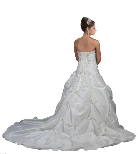 Faironly M58 White Ivory Wedding Dress Bride Gown (M, White)