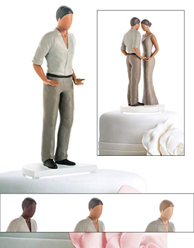 (Wedding Cake Toppers for Straight, Gay, Lesbian, Interracial - Bride and Groom Figurines for Cakes - Personalize and Customize Decorations for Anniversary, Bridal Shower, Engagement (Mid Tone Male))