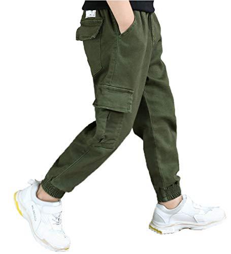 Koupa Boy's Cargo Pant Elastic Waist Cotton Jogger Pants for Kids (7-8 Years), Green