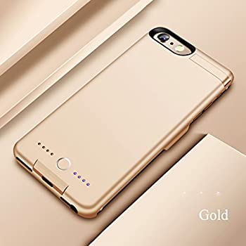 Gold, iPhone 6 6S 7 8//5.5 inch 6S 6-Plus 5.5 Screen with 7000 mAh Extra 200/% Battery Power Light Weigh with Kick Stand 7 BioRing Battery Case Compatible with All iPhone 8