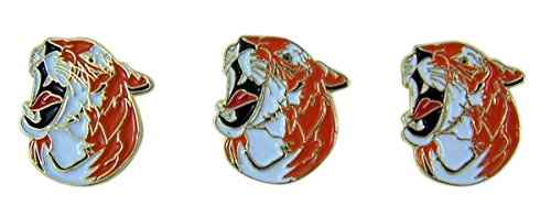 School Mascot Gold Toned with Enamel Lapel Pin, Pack of 3 (Tiger)