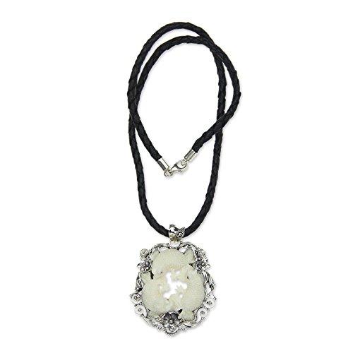 NOVICA .925 Sterling Silver Leather Bone Pendant Necklace, 18.5